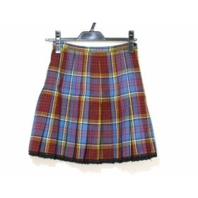 【中古】 アナスイ ANNA SUI ミニスカート サイズ38 M レディース 美品 ブルーグレー レッド マルチ
