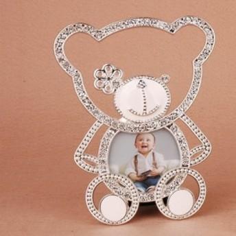 【お取り寄せ】フォトフレーム かわいい熊ちゃんの形 ダイヤ風の装飾 子供 キラキラ