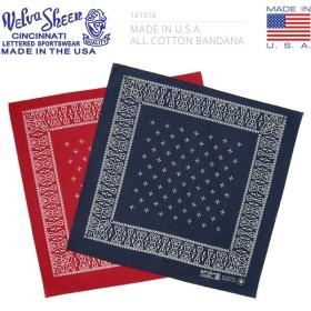 Velva Sheen ベルバシーン 161516 MADE IN USA ALL COTTON バンダナ CROSS(クロス) ハンカチーフ ポケットチーフ 柄物 アメリカ製 大判 ブランド