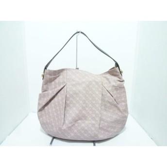 【中古】ゲラルディーニ ハンドバッグ 美品 ピンクベージュxダークブラウン PVC(塩化ビニール)xレザー
