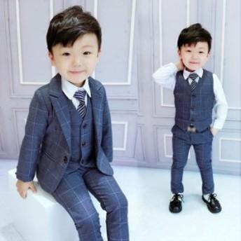 子供服 男 キッズ ジュニア 男の子 セットアップ 三点セット ジャケット ベスト ズボン フォーマル 結婚式 写真撮影 発表会 入園式