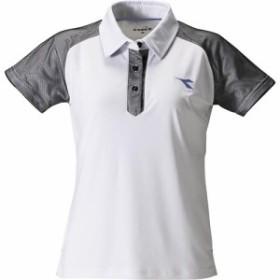 ディアドラ(diadora) レディース テニスウェア W ゲームシャツ ホワイト DTG9345 90 【練習着 半袖 部活 おしゃれ ソフトテニス 試合着