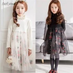 韓国子供服 女の子 ワンピースドレス チュールワンピース リボンレベル 長袖 チュール ワンピース チュチュ ハイウエ スト 春着 花柄