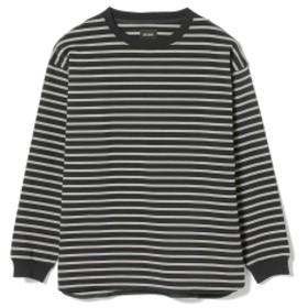 BEAMS / ルーズ ボーダー ロングスリーブ Tシャツ メンズ Tシャツ BLACK M