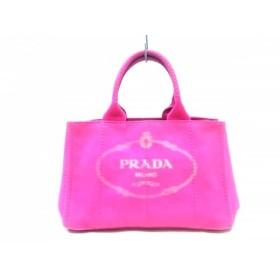 【中古】 プラダ PRADA トートバッグ CANAPA BN1877 ピンク キャンバス