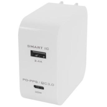 USB PowerDeliveryとQuick Charge3.0両対応のUSB Type-Cポートで超速充電!!Smart IC搭載でかしこく充電の2ポートAC充電器 OWL-ACPDU1S-WH ホワイト
