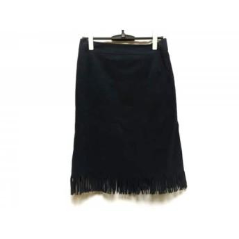 【中古】 ローズティアラ Rose Tiara スカート サイズ42 L レディース 新品同様 ネイビー フリンジ
