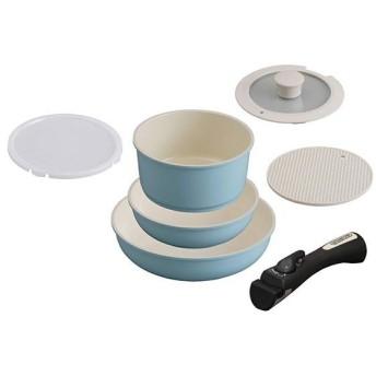 アイリスオーヤマ CC-SE6N ブルー セラミックカラーパン 6点セット シリコンなべ敷き付 IH対応