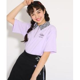 PINK-latte(ピンク ラテ) ★ニコラ掲載★襟柄ハーフZIP トップス