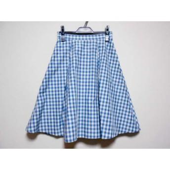 【中古】 マイストラーダ Mystrada スカート サイズ36 S レディース 白 ブルー チェック柄