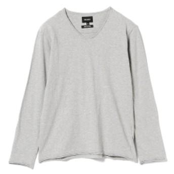 BEAMS / 天竺カットオフ Vネック Tシャツ メンズ Tシャツ TOP GREY L