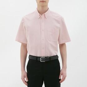 (GU)オックスフォードシャツ(半袖)(ストライプ) PINK S