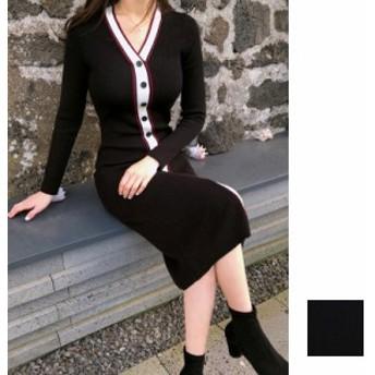 韓国 ファッション レディース ワンピース 秋 冬 カジュアル naloD902  えんじ色 レッド ホワイト ライン プレッピー リブニット エレカ