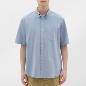 (GU)オックスフォードシャツ(半袖) LIGHT BLUE L