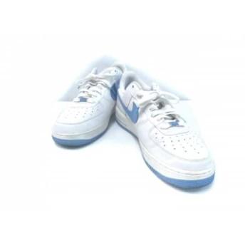 【中古】 ナイキ スニーカー メンズ エアフォース 1 ロー '07(PLAYERS) 315092-141 白 ライトブルー 合皮
