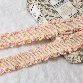 1m 綺麗 ツイード リボン テープ オレンジピンク BK190341 ハンドメイド 手芸 素材 材料 DIY
