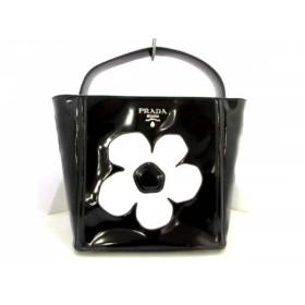 【中古】 プラダ PRADA ハンドバッグ - B2507I 黒 白 フラワー エナメル(レザー) レザー