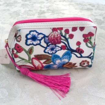 コスメポーチ 花柄刺繍プリント デコレーションポーチ ピンク・ブラック タッセル