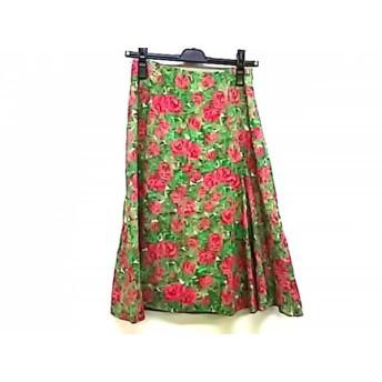 【中古】 シビラ Sybilla スカート サイズM レディース 美品 グリーン ピンク マルチ 花柄