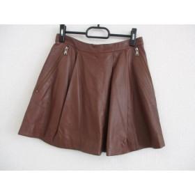 【中古】 マークバイマークジェイコブス スカート サイズ2 S レディース ダークブラウン レザー