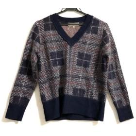 【中古】 ジユウク 自由区/jiyuku 長袖セーター サイズ38 M レディース ネイビー オレンジ ライトグレー