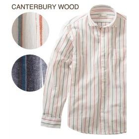シャツ カジュアル メンズ CANTERBURY WOOD カンタベリーウッド 綿麻ストライプ柄 長袖 トップス M/L/LL ニッセン