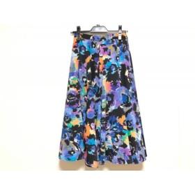 【中古】 ダイアグラム ロングスカート サイズ36 S レディース 美品 ブルー 黒 オレンジ