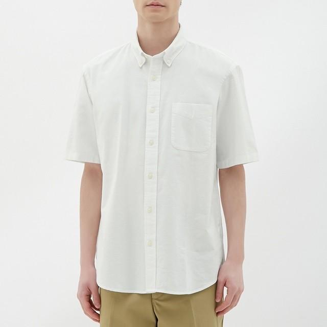 (GU)オックスフォードシャツ(半袖) OFF WHITE S