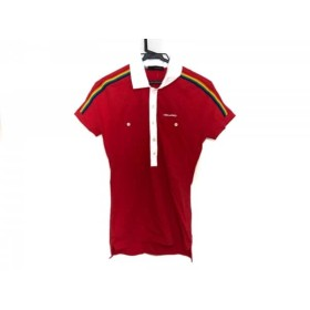 【中古】 ディースクエアード DSQUARED2 半袖ポロシャツ サイズS レディース 美品 レッド 白 マルチ