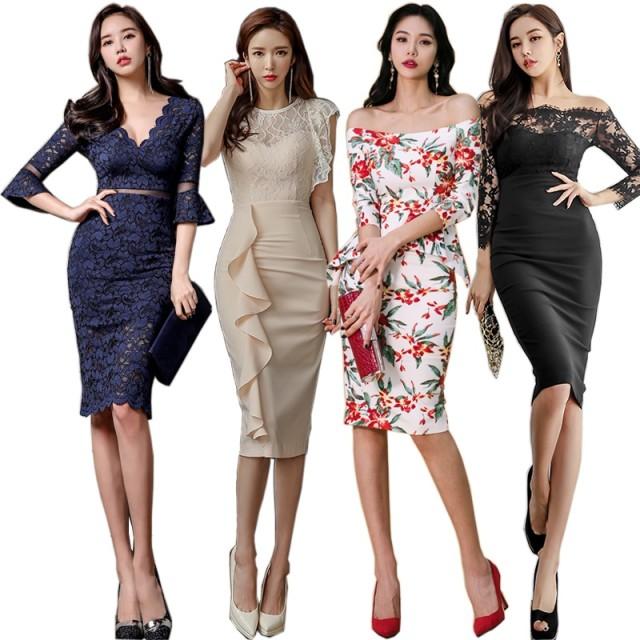 【03/28更新】2019新作 高品質 韓国ファッション OL、正式な場合、礼装ドレス セクシーなワンピース、一字肩 二点セット、側開、深いVネック やせて見える、ハイウエ