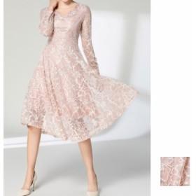 韓国 ファッション レディース ワンピース パーティードレス 結婚式 お呼ばれドレス お呼ばれワンピース ひざ丈 ミディアム 秋 冬 春 パ