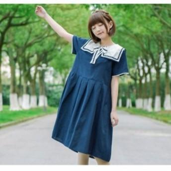 女子高校生 海軍風ワンピ セーラー服 レディースワンピース セーラー襟お姫様ロリータ 制服