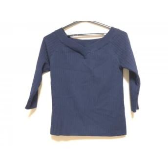 【中古】 アプワイザーリッシェ 七分袖セーター サイズ2 M レディース 美品 ダークネイビー