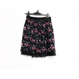 【中古】 ロイスクレヨン Lois CRAYON ミニスカート サイズM レディース 黒 ピンク マルチ 花柄
