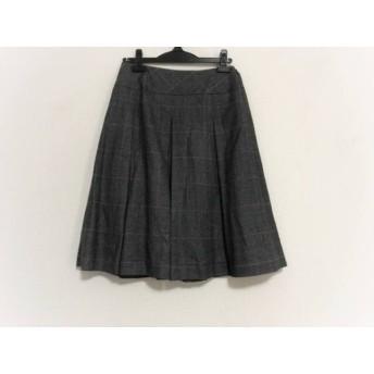 【中古】 ヨシエイナバ スカート サイズ38 M レディース 黒 ライトグレー レッド チェック柄