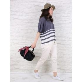 【大きいサイズレディース】【L-3L展開】綿サテンタックパンツ パンツ タックパンツ