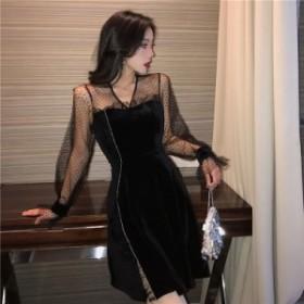ワンピース ワンピースドレス 黒 長袖 結婚式 韓国 大きいサイズ パーティー ドレス 激安 お呼ばれ 二次会 フォーマル 春 20代 30代 ミニ