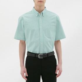 (GU)オックスフォードシャツ(半袖)(ストライプ) GREEN XS