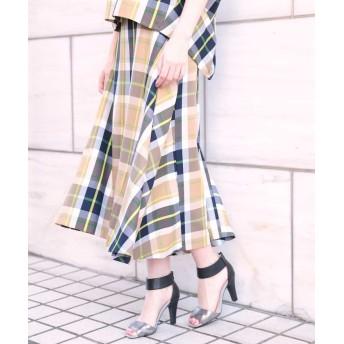 【50%OFF】 クリスチャン オジャール ツイルチェックニュアンススカート レディース グリーン 9 【CHRISTIAN AUJARD】 【セール開催中】