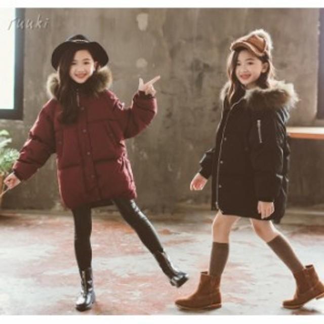 7bcf46d556622 子供服 女の子 中綿コート ジャケット 韓国子供 ロング コート フード付き 防寒 アウター 女児 暖かい