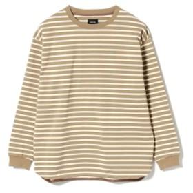 BEAMS / ルーズ ボーダー ロングスリーブ Tシャツ メンズ Tシャツ KHAKIIVORY M
