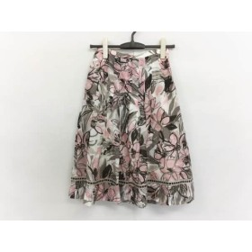 【中古】 レリアン Leilian スカート サイズ9 M レディース アイボリー ピンク グレーベージュ 花柄