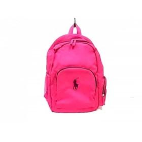 【中古】 ポロラルフローレン リュックサック 美品 ビッグポニー ピンク ネイビー ポリエステル