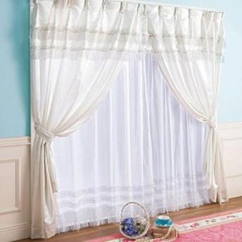 幅100×丈90 4枚 レースカーテン付 姫 ホワイト 白 プリンセス2段フリルカーテンセット