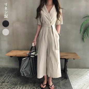 パーティードレス パンツドレス ワイドパンツ オールインワン サロペット リネン混 5分袖 半袖