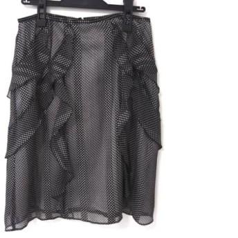 【中古】 オースチンリード Austin Reed スカート レディース 美品 黒 アイボリー フリル/ドット柄