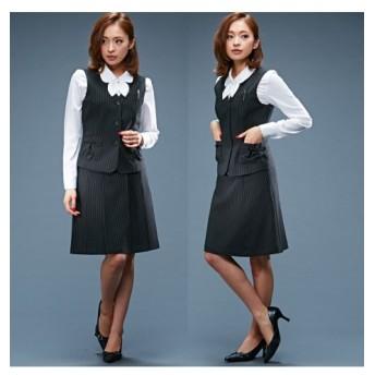 9/25 11:00amまでの特別価格!【事務服。ベストスーツ】3点セット(ベスト+プリーツスカート+フレアスカート)(丈52cm) women's suits