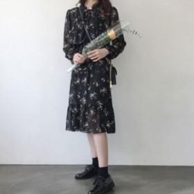 5dbd5a214d42e 花柄 ワンピース 膝丈 ミモレ丈 裾フレア フレアスカート レトロ 上品 大人 長袖 ゆったり