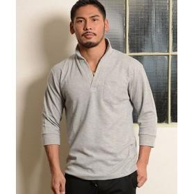 シルバーバレット VICCI鹿の子イタリアンカラー七分袖ポロシャツ メンズ グレー 46(L) 【SILVER BULLET】