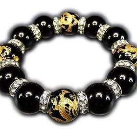 超迫力天然石超太18ミリオニキス皇帝龍手彫り金箔高級ロンデル数珠ブレスレット